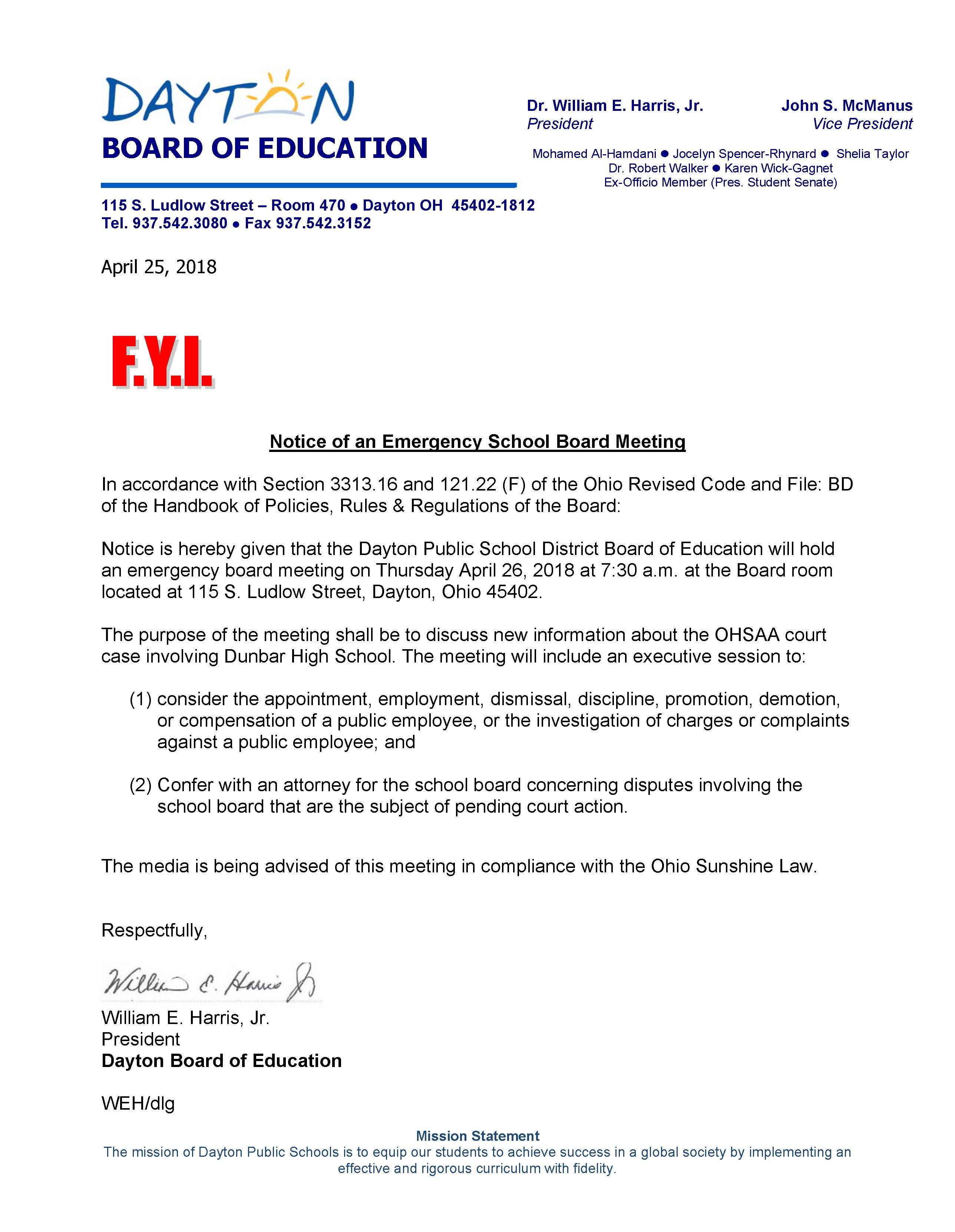 News | Notice of an Emergency School Board Meeting